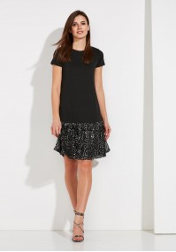 Dress with frill in sequins