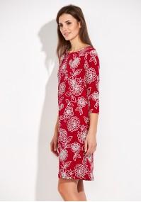 Czerwona Sukienka z białymi kwiatami