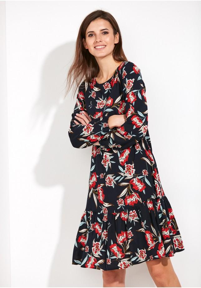 Gauzy Dress with red flowers