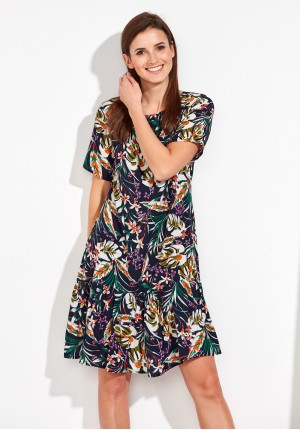 Summer Dress with colorful leaves