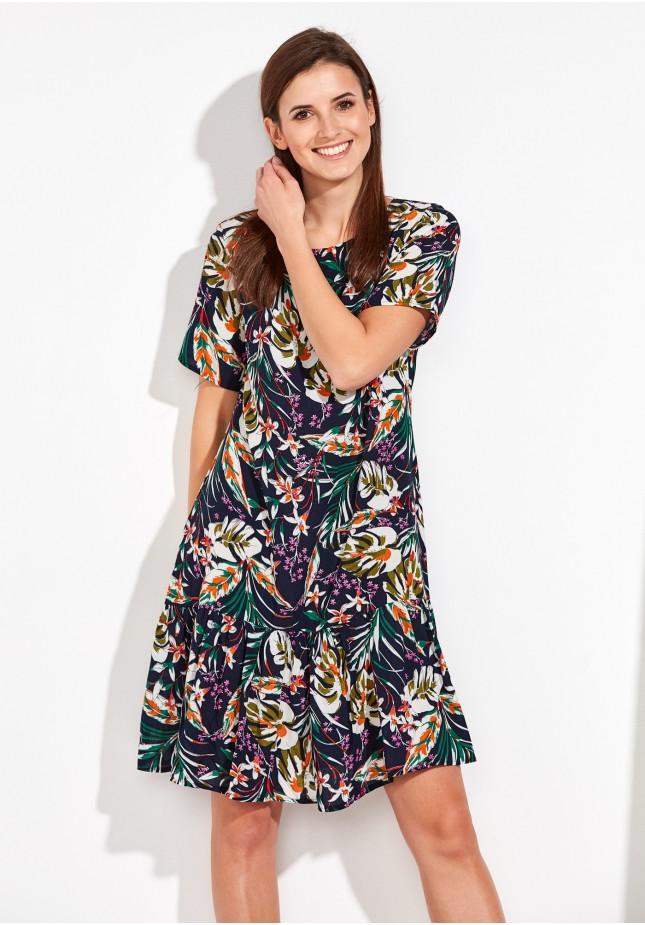 Letnia Sukienka w kolorowe liście