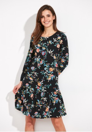 Floral viscose Dress with a frill