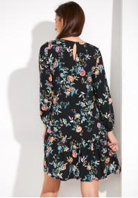 Kwiecista Sukienka z wiskozy z falbaną