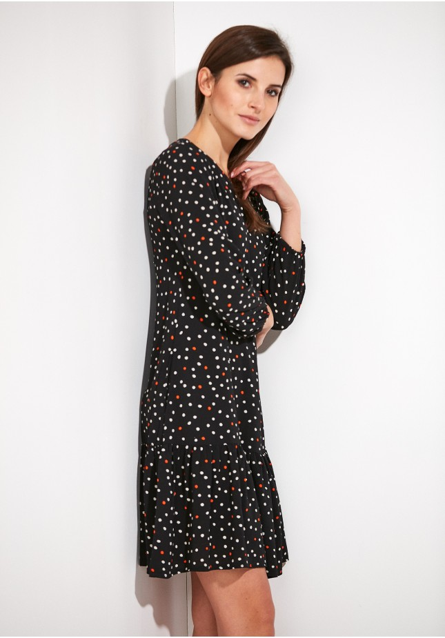 Black Dress with colorful dots