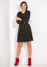 Czarna Sukienka w kolorowe groszki