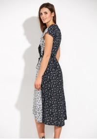 Dwukolorowa Sukienka z dekoltem w szpic
