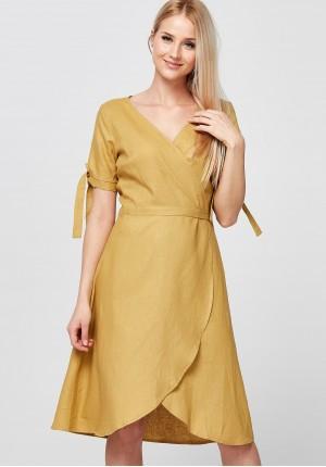 Musztardowa Sukienka z kopertowym dekoltem