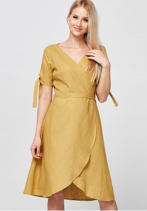Yellow Dress with envelope neckline
