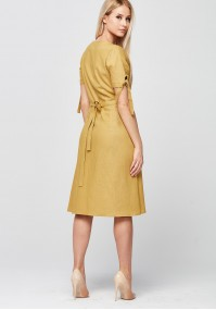 Yellow Dress with envelope neckline