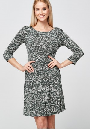 Zielona dzianinowa Sukienka w słoneczniki