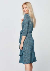Turkusowo-srebrna Sukienka z kopertowym dekoltem