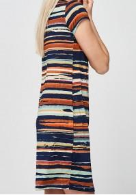Green and orange striped Dress