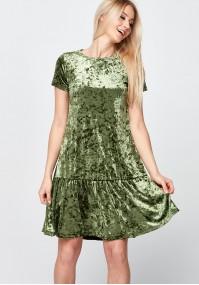 Zielona welurowa Sukienka z falbaną