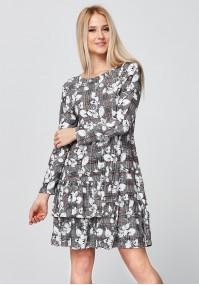 Sukienka w kratkę z podwójną falbaną