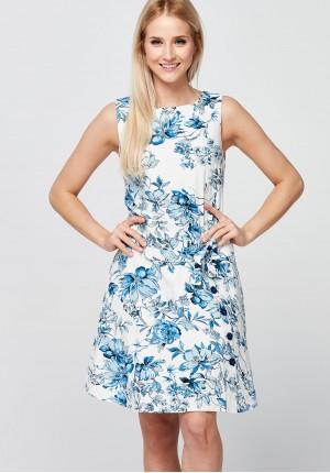 Biała Sukienka w niebieskie kwiaty