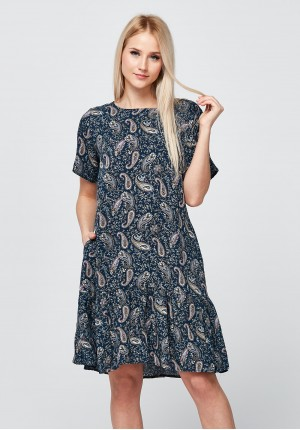 Granatowa letnia Sukienka z falbaną