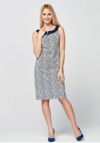 Cotton white and navy Dress