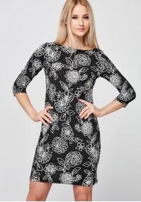 Czarna Sukienka z białymi kwiatami