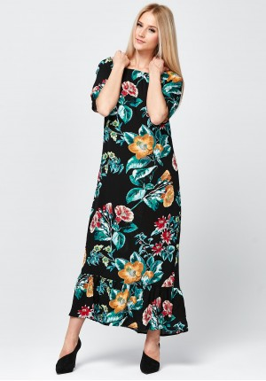 Floral maxi Dress with frill.