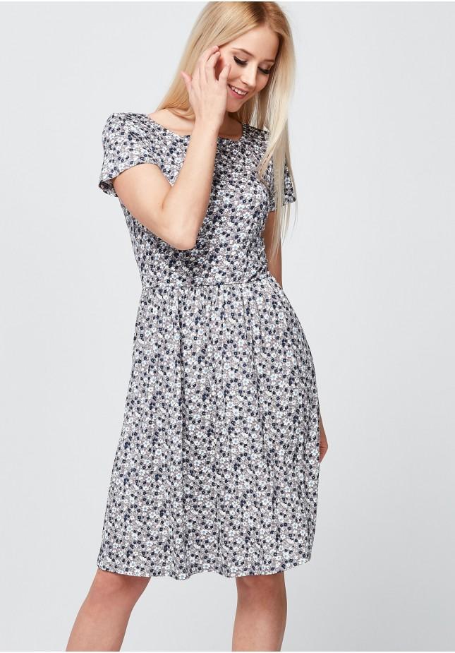 Beżowa Sukienka w kwiatki