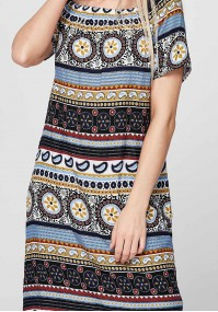 Summer Dress with a yellow-blue pattern