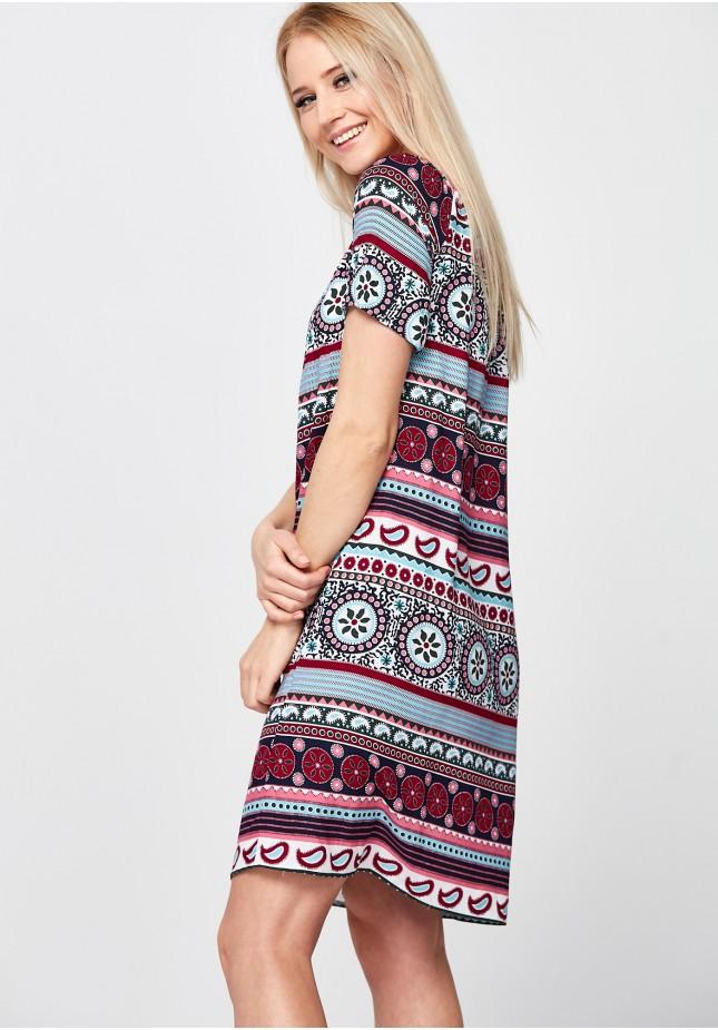 Letnia Sukienka z bordowym wzorem