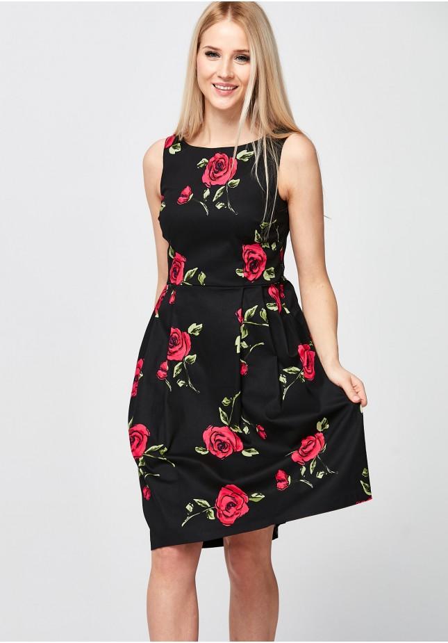 Elegancka Czarna Sukienka z różami