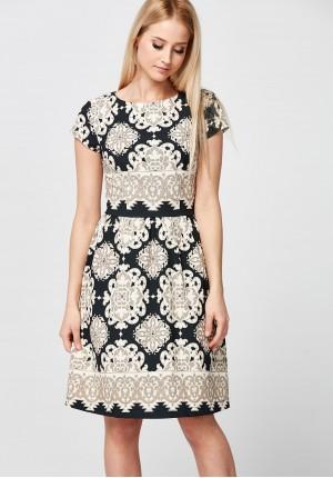 Elegancka beżowo-czarna Sukienka
