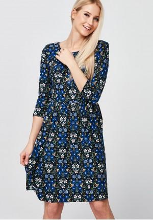 Odcinana dzianinowa Sukienka w kwiaty