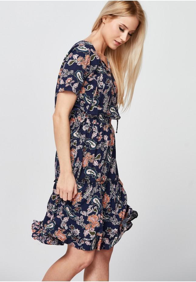Bluzowana Sukienka z falbaną