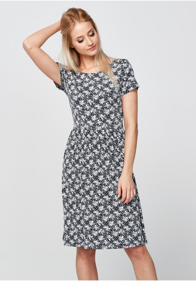 Navy Dress with white flowers