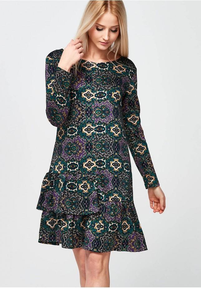 Ciemnozielona Sukienka z falbanami