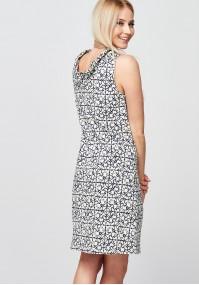 Beżowo-granatowa Sukienka ze stójką