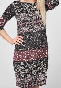 Bordowo-czarna prosta Sukienka