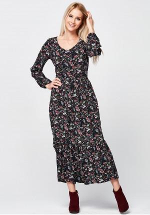 Długa Sukienka z dekoltem w szpic i z falbaną