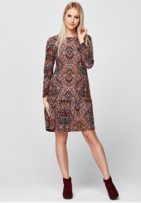 Patterned Dress with frill