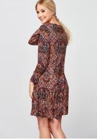 Wzorzysta jasnoróżowa Sukienka z falbanką