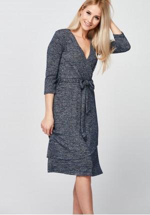 Navy-silver Dress with envelope neckline