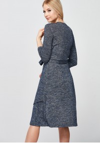 Granatowo-srebrna Sukienka z kopertowym dekoltem