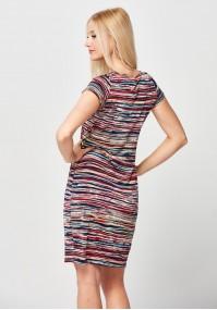 Sukienka w drobne kolorowe paski