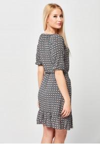 Sukienka z falbaną i wiązaniem w talii