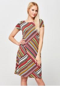 Trapezowa Sukienka w kolorowe pasy