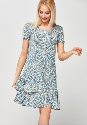 Blue Dress with double frill