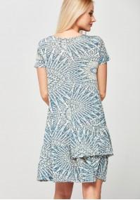 Błękitna Sukienka z podwójną falbaną