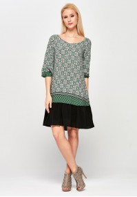 Green Dress with black frill