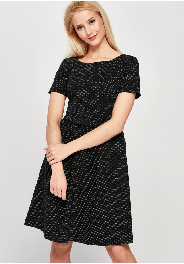 Flared black Dress with white dots
