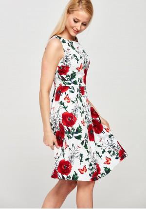 Biała Sukienka w czerwone maki