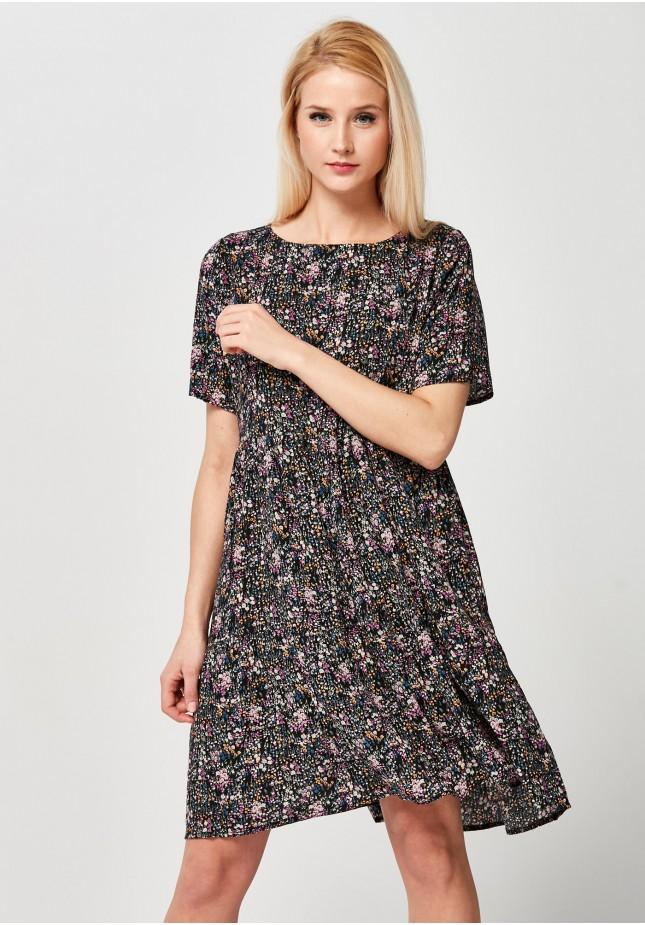 Kwiecista luźna Sukienka z falbanami