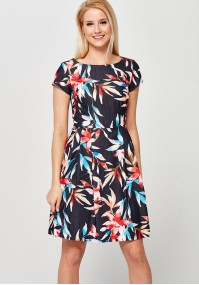 Flared Dress with colorful flowers
