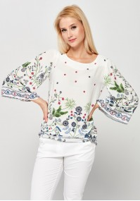 White Viscose Blouse with Flowers